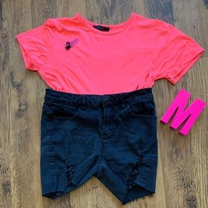 Black ripped jean shorts